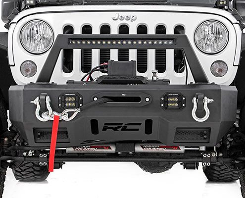rough country jeep front stubby led winch bumper